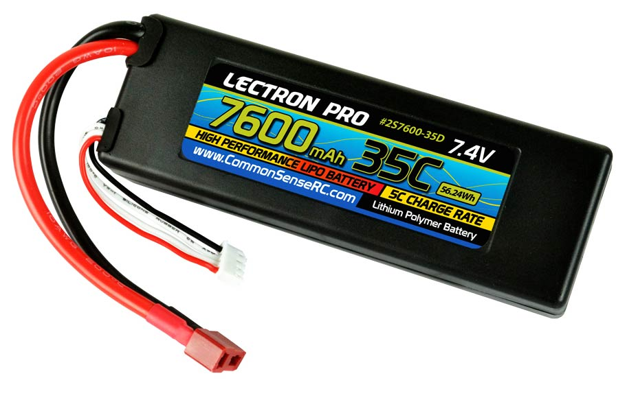 Lectron Pro 7.4v 7600mAh 35C Lipo Battery With Deans Connector