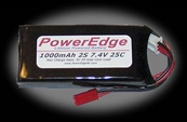 PowerEdge 1000mAh 7.4V 2S Double Cell 25C LiPoly Pack