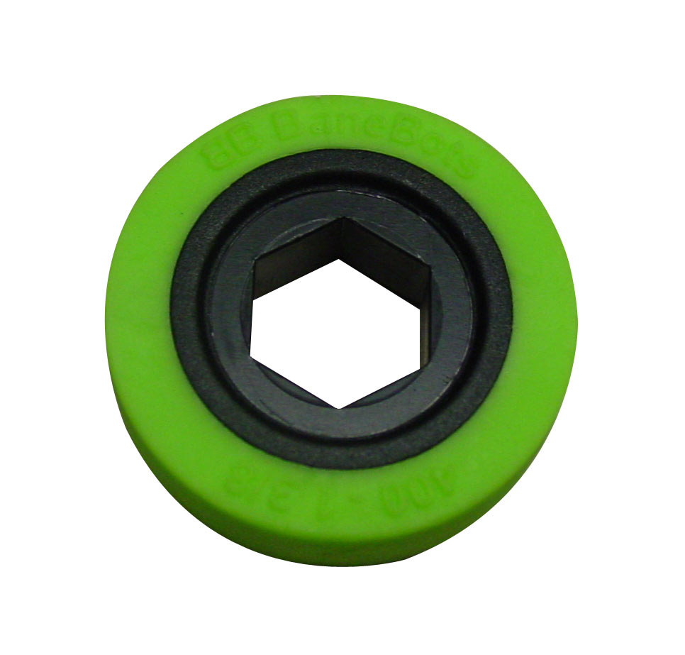 BaneBots Wheel, 1-3/8 x 0.4in., 1/2in. Hex Mount, 30A Green