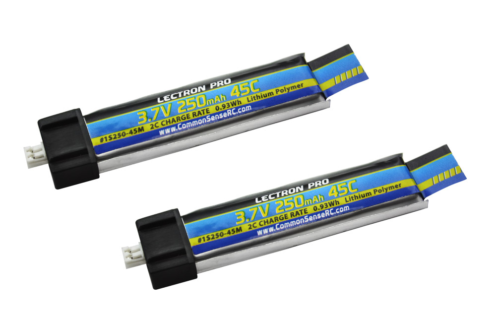 Lectron Pro™ 3.7V 250mAh 45C Lipo Battery 2-Pack for Blade Inductrix FPV and Tiny Whoop