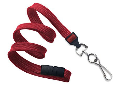 Red 3/8 Flat Braid Breakaway Woven Lanyard w/ a Universal Slide Adapter & Nickel-Plated Steel Swivel Hook