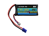 Lectron Pro 7.4V 1350mAh 25C Lipo Battery w/ EC2 Connector for HobbyZone Delta Ray and Firebird Stratos