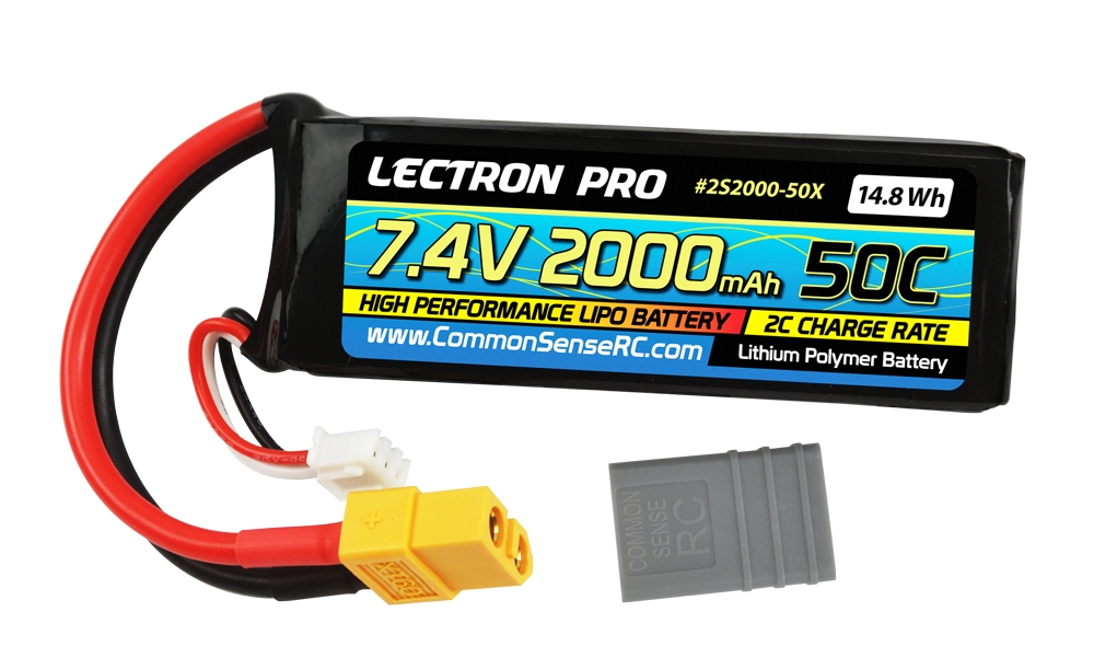 Lectron Pro™ 7.4V 2000mAh 50C Lipo Battery with XT60 & Traxxas Connector