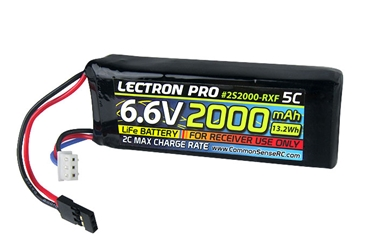 Lectron Pro 6.6V 2000mAh 5C LiFe Receiver Flat Pack with Servo Connector