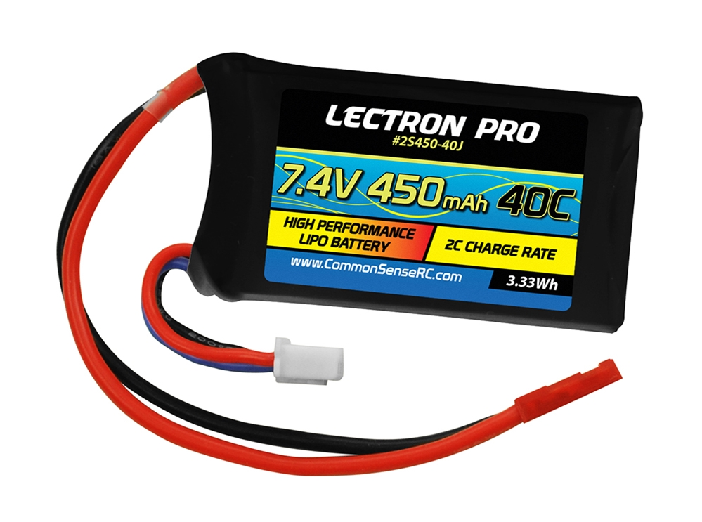 Lectron Pro™ 7.4V 450mAh 40C Lipo Battery with JST Connector