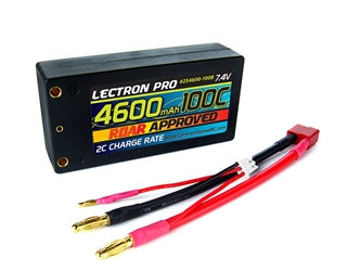 Lectron Pro 4600mAh 2S 7.4V 100C Shorty LiPo Pack - Deans Connector