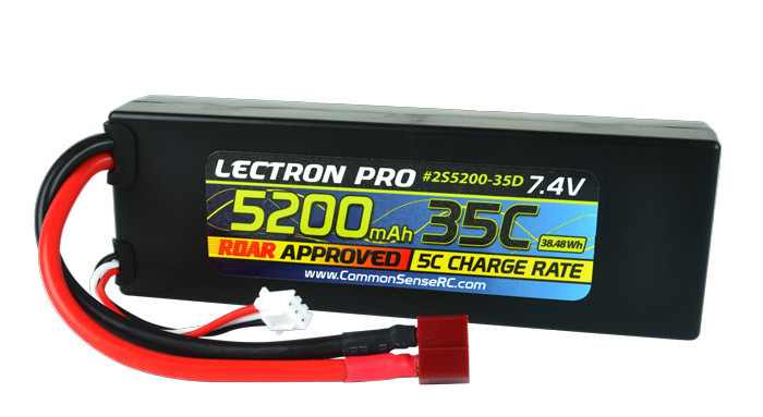 Lectron Pro 7.4v 5200mAh 35C LiPo Battery With Deans Connector