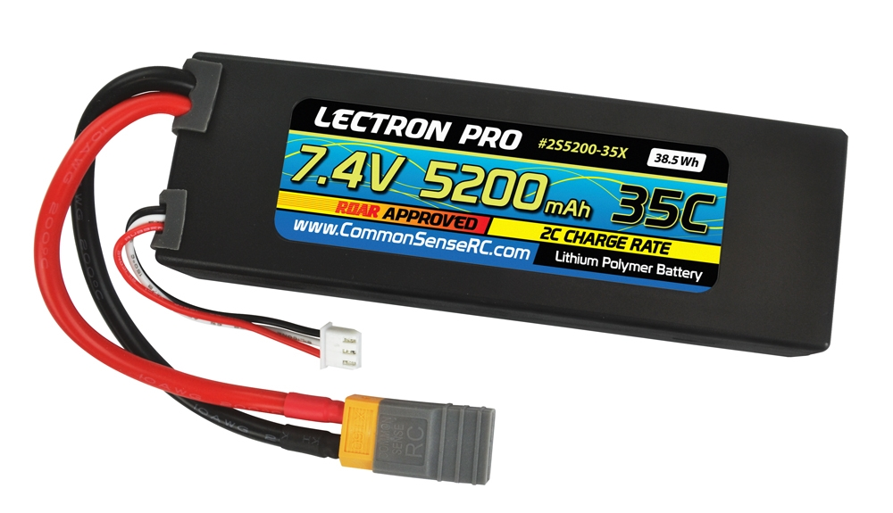 Lectron Pro 7.4V 5200mAh 35C Lipo Battery w/ XT60 Connector + Adapter for XT60 to Traxxas - 2S5200-35X