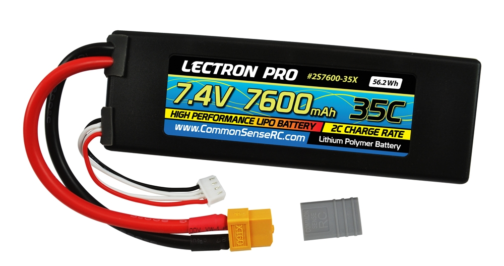 Lectron Pro 7.4v 7600mAh 35c lipo battery with xt60 connector plus xt60 to traxxas