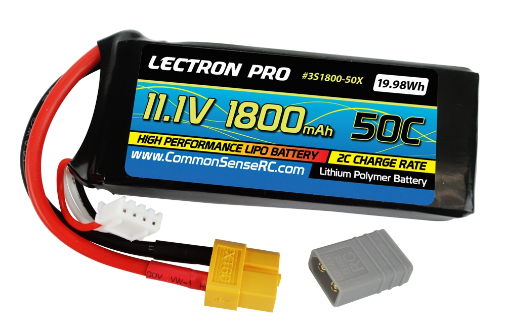 Lectron Pro 11.1V 1800mAh 50C with XT60 Connector + adapter for XT60 to Traxxas
