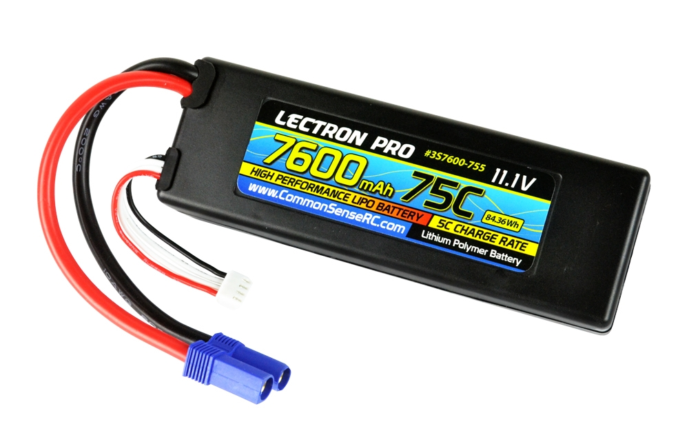 Lectron Pro 11.1V 7600mAh 75C Hard Case Lipo Battery with EC5 Connector