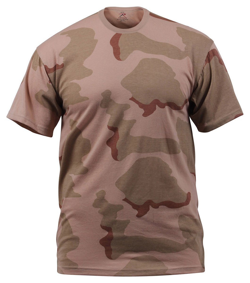 Mens 3 Color Desert Poly Cotton Camouflage T-Shirt - S