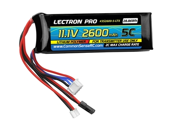 Lectron Pro 2600mAh 3S 11.1V TX Pack for Square Type