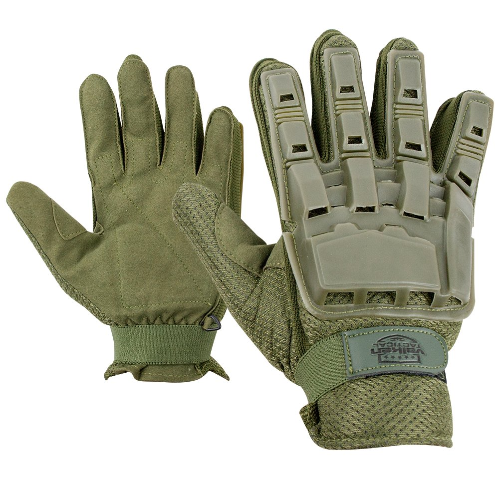 Gloves - V-TAC Full Finger Plastic Back NEW-Olv-M