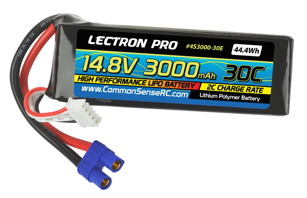 Lectron Pro 3000mAh 4S 14.8V 30C LiPo Pack - EC3 Connector
