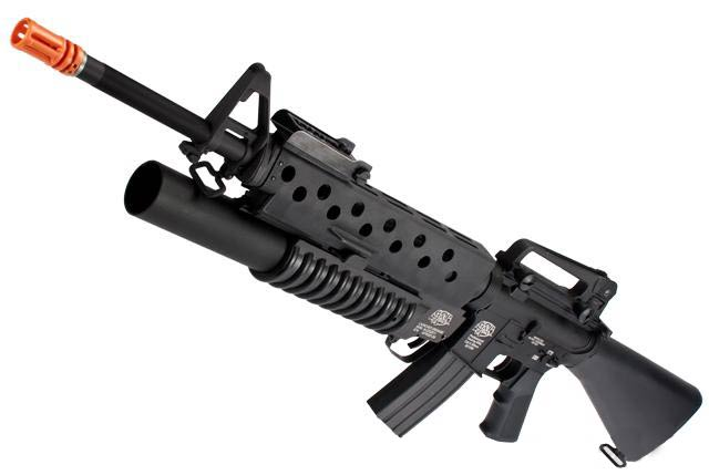 G&P Scar Face M16A3 M16 VN Airsoft AEG Rifle w/ M203 Grenade Launcher