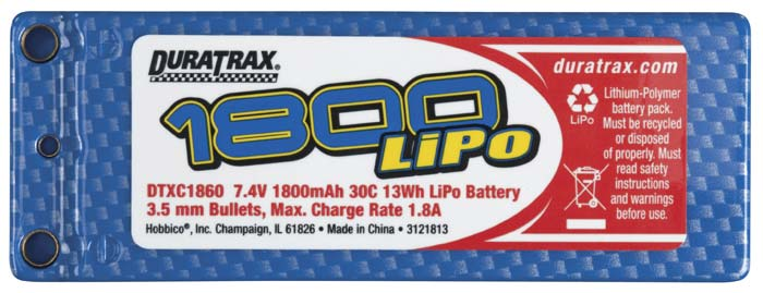 DuraTrax 1800mAh 7.4V 2S Double Cell 30C LiPo Pack - Bullet Connector