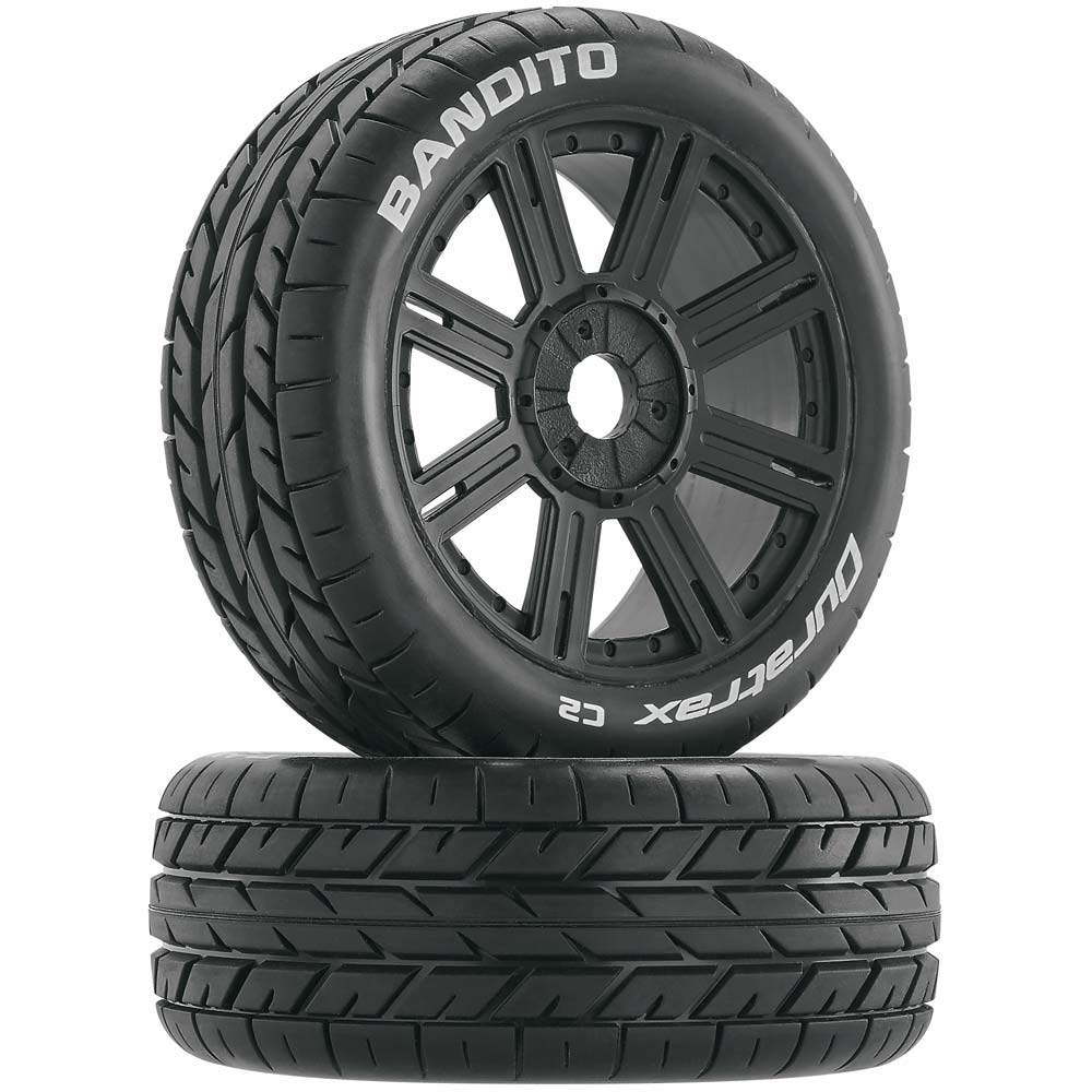 Duratrax Bandito Buggy Tire C2 Mounted Spoke Black (2)