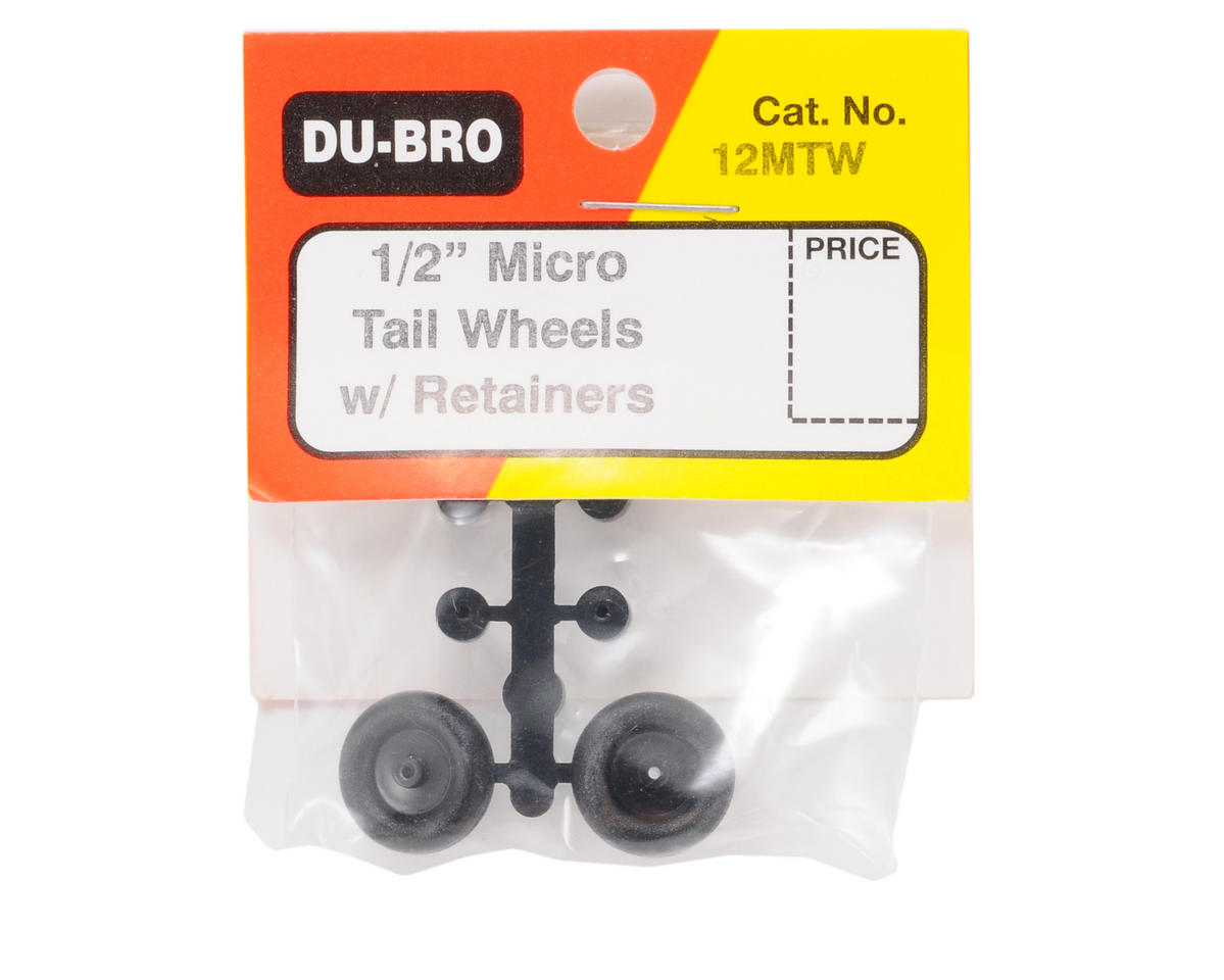 Dubro 1/2in Micro Tail Wheels with Retainers - DUB12MTW