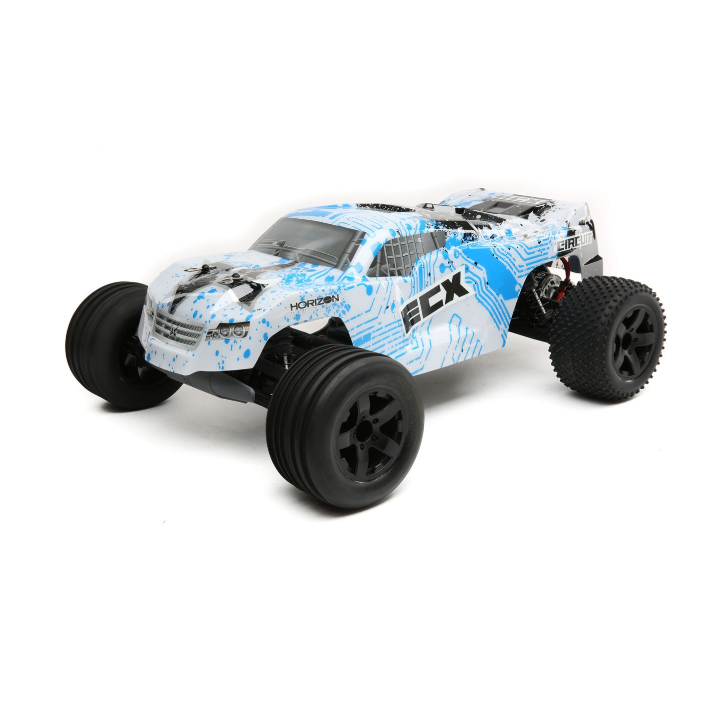 1/10 Circuit 2WD StadiumTruck, Brushed, LiPo, RTR: White/Blue