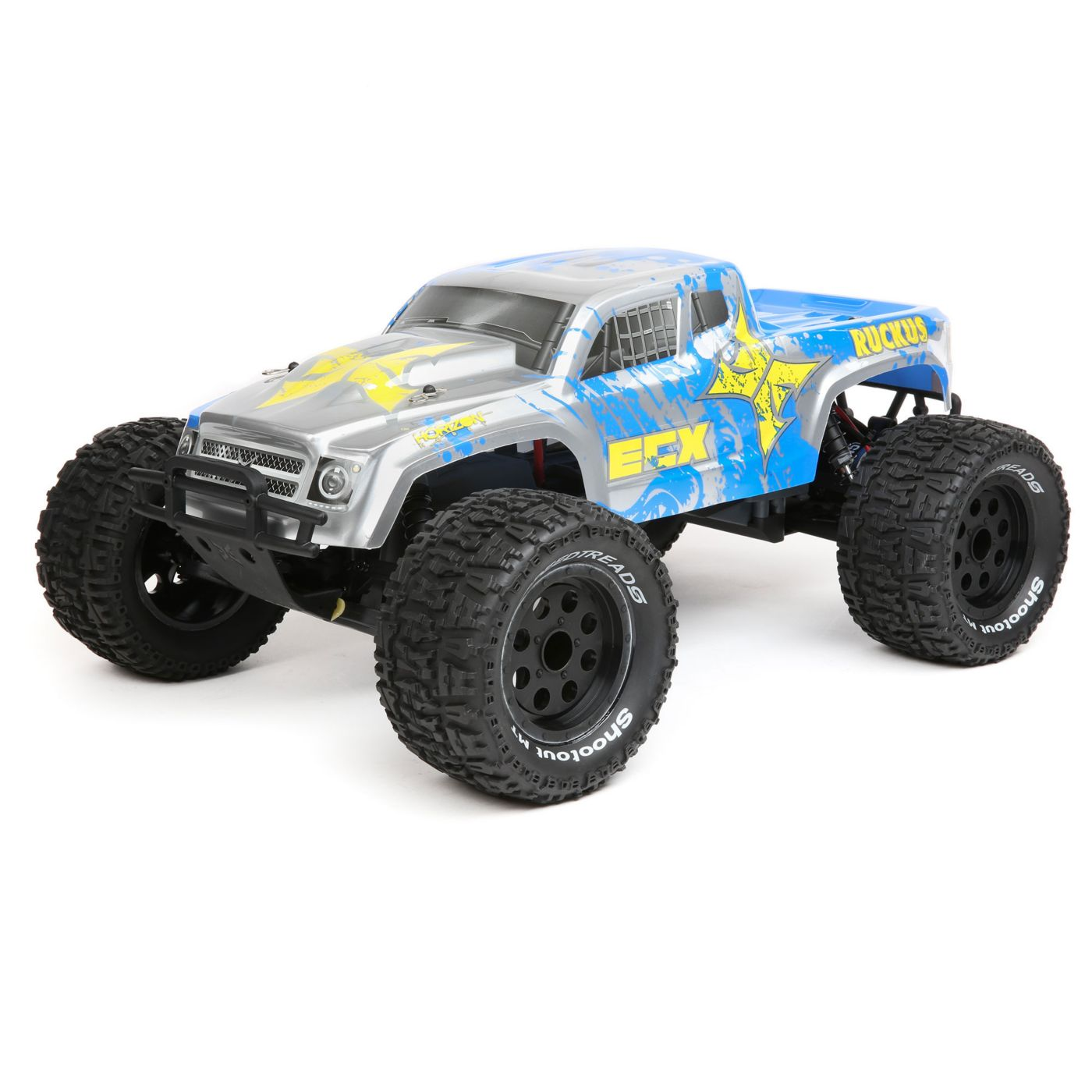 1/10 Ruckus 2WD Monster Truck, Brushed, LiPo RTR: Silver/Blue