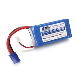 E-Flite 1250mAh 11.1V Triple Cell 3S LiPoly Pack, 13g wire