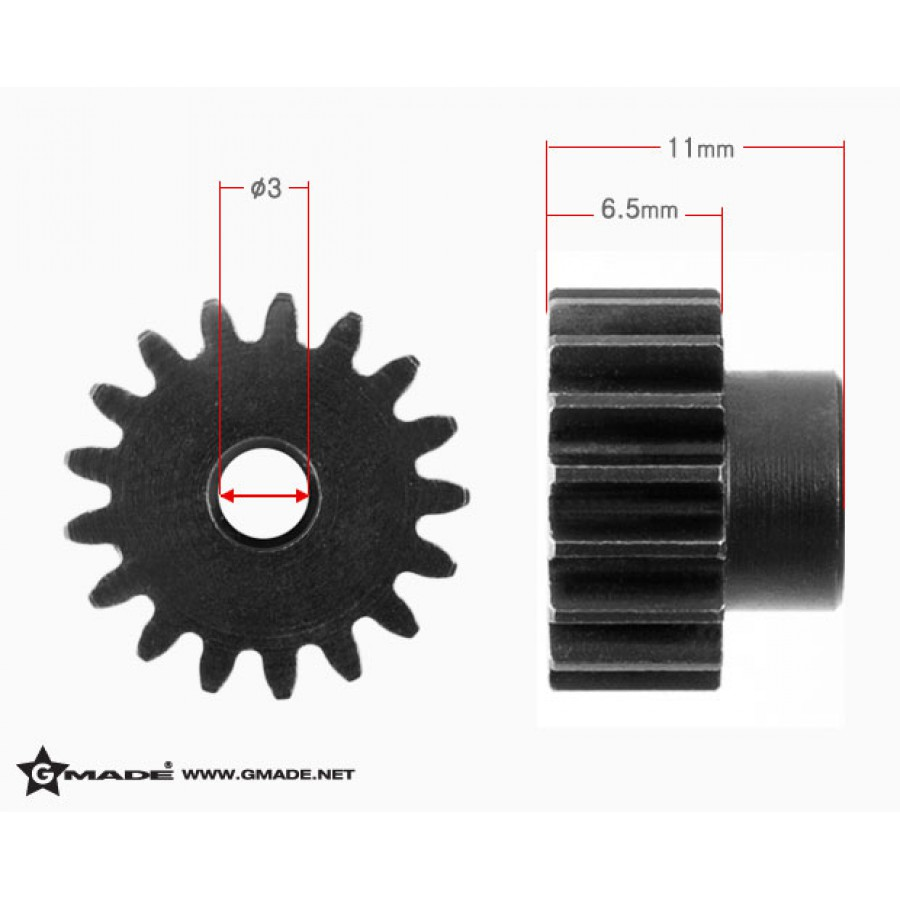 32 Pitch 3mm Hardened Steel Pinion Gear 17T - GM81417