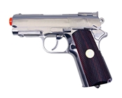 Win Gun High Power Full Metal 1911 Compact CO2 Pistol - Chrome / Wood Grip