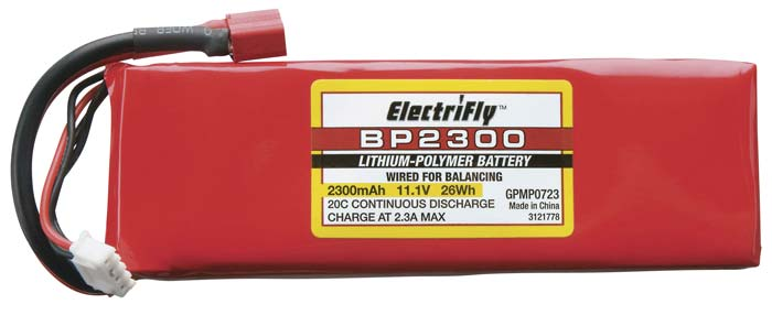 Great Planes Lipo 11.1V 2300mAh 20C ElectriFly BP Srs