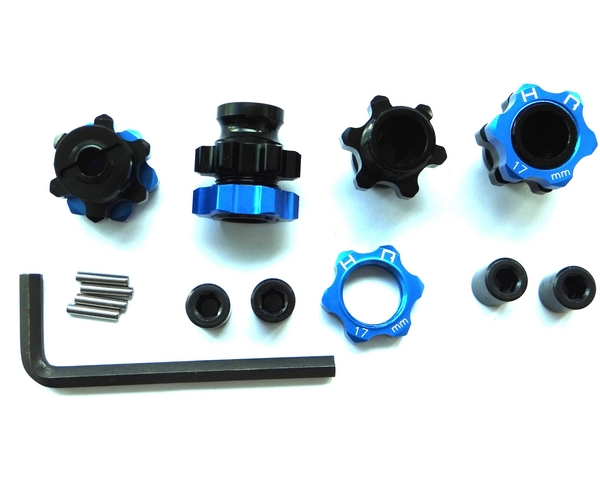 Lightweight 17mm Aluminum Hubs, Black Anodized with Blue Wheel Nuts, Traxxas Slash 2WD