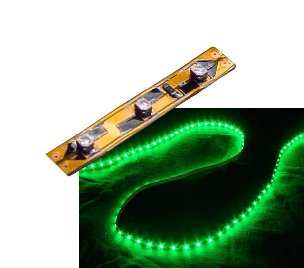 Self-Adhesive 2 inch 3 Lights LED Light Strip - Green