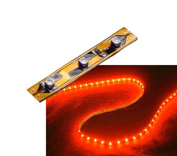Self-Adhesive 2 Inch 3 Lights LED Light Strip - Red