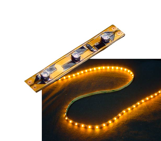 Self-Adhesive 2 Inch 3 Lights LED Light Strip - Yellow