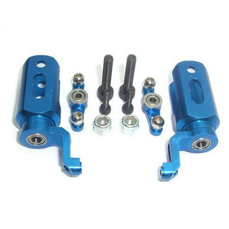 Microheli Main Blade Grips with Mixing Arms, Blue: B400