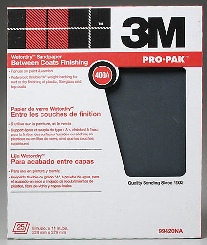 3M Wet or Dry 400 Grit (Single Sheet) Sandpaper