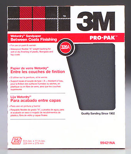 3M Wet or Dry 320 Grit (Single Sheet) Sandpaper