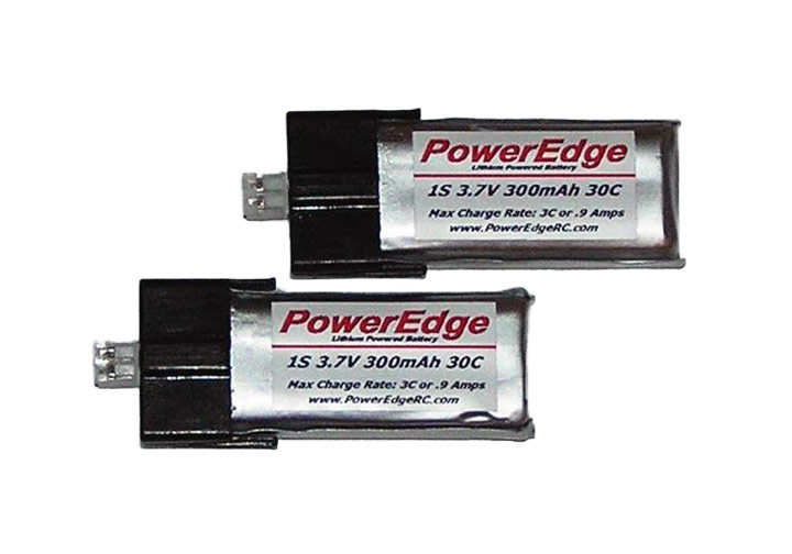 PowerEdge 300mAh 3.7V 1S Single Cell 30C LiPoly - MCPX, 2-pack