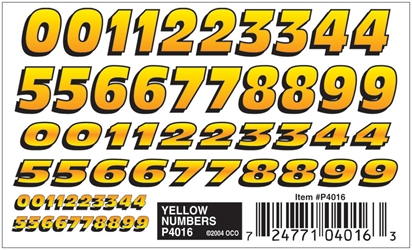 Pinecar Yellow Numbers Dry Transfer