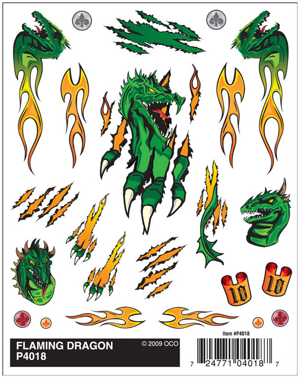 Dry Transfer Decals, Flaming Dragon