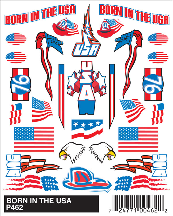 Pinecar P462 Stick-On Decal, Born in USA