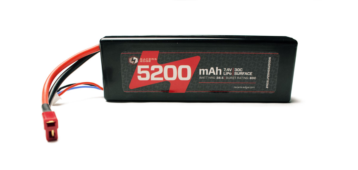 High Performance Lipo Battery Pack5000 7.4v 2Cell Lipo Pack With Hardwired Deans Plug