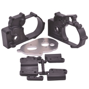 Gearbox Housing & R Mounts,Black:TRA 2WD Vehicles