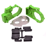 Gearbox Housing & R Mounts,Green:TRA 2WD Vehicles