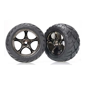 Traxxas 2478A Rear Tracer 2.2 Black Chrome Wheels with Anaconda 2.2 Tires (2)