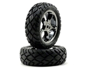 Traxxas 2479A Front Tracer 2.2 Black Chrome Wheels with Anaconda 2.2 Tires (2)