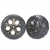 Traxxas 3776A Anaconda Front Tire on All-Star Black Chrome Wheel (2)