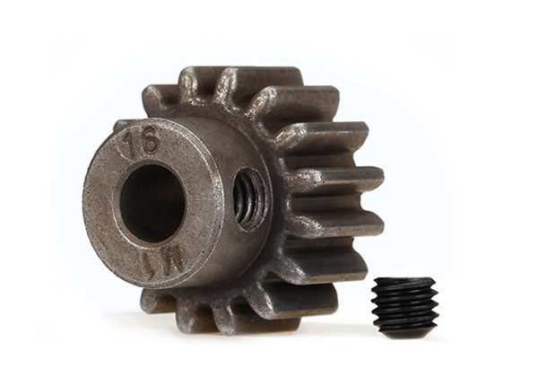 Gear, 16-T pinion 1.0 metric pitch fits 5mm shaft
