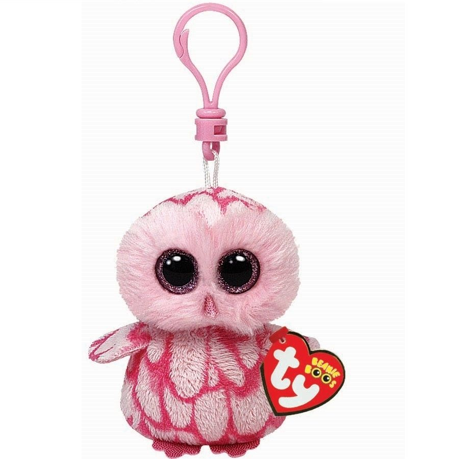 Ty Beanie Boos Pinky - Pink Owl Clip