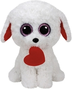 TY Beanie Boos - Honey the White Dog with Heart (Medium)