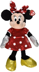 Ty Beanie Buddies Minnie Red Sparkle Medium Plush